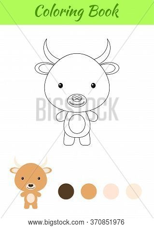 Coloring Page Happy Little Baby Yak. Coloring Book For Kids. Educational Activity For Preschool Year