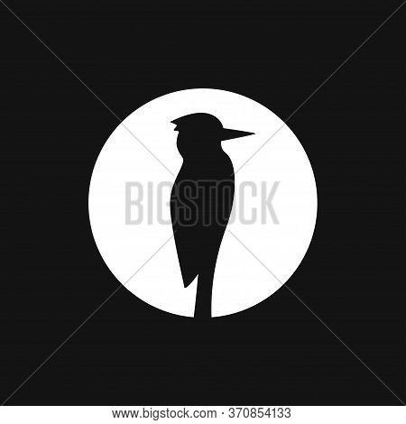 Woodpecker Vector Icon. Bird Symbol Isolated On Background.