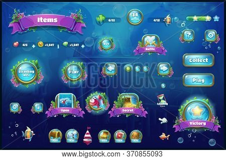 World Of Atlantis - Vector Illustration Set Button To The Computer Game. Bright Background Image To
