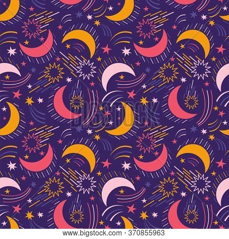 Seamless Pattern Of Outer Space. Cosmic Background With Space Elements, Stars, Comets, Meteorites, C