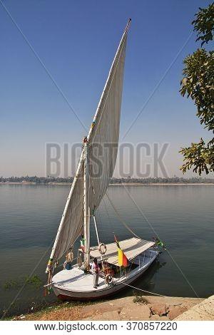 Nile River / Egypt - 27 Feb 2017: The Felucca On Nile River In Aswan, Egypt