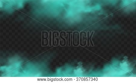Blue Smoke Isolated On Dark Transparent Background. Realistic Blue Magic Mist Cloud, Chemical Toxic