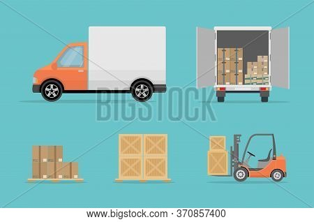 Delivery Truck, Forklift And Different Boxes. Isolated On Blue Background. Warehouse Equipment, Carg