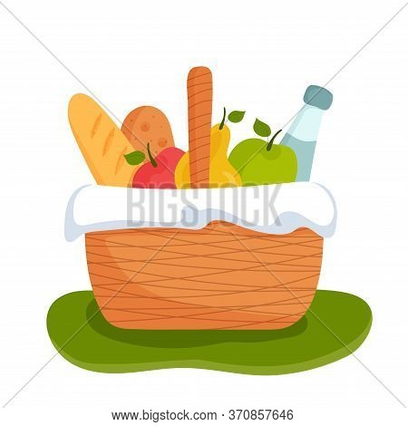 Wicker Picnic Basket Full Of Healthy Food On Grass. Bottle Of Water, Apple, Pear, Baguette. Bright C
