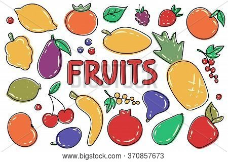 Big Set Of Colorful Fresh Organic Summer Fruits And Berries. Decorative Vector Illustration  For Adv