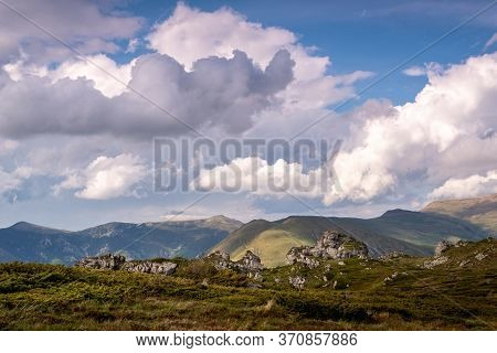 Green Valley Nature Landscape. Mountain Layers Landscape.dramatic Sky In Mountain Landscape. Meadows