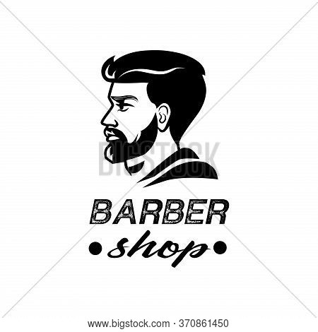 Barber Shop Logo. Black And White Isolated Vector
