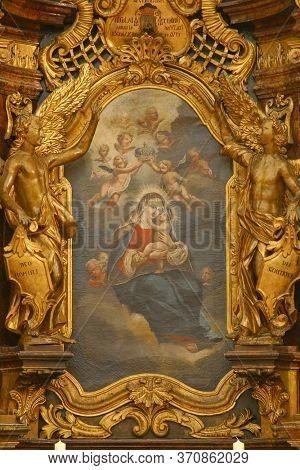 ZAGREB, CROATIA - NOVEMBER 12, 2012: Our Lady altar in Franciscan church of St. Francis Xavier in Zagreb, Croatia