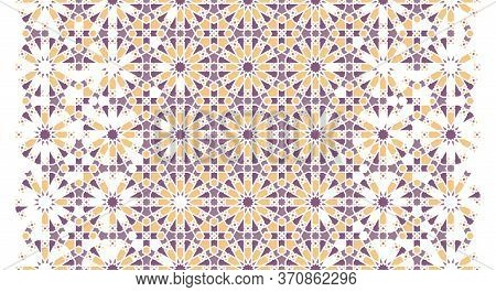 Arabesque Vector Seamless Pattern. Geometric Halftone Texture, Background With Color Tile Disintegra