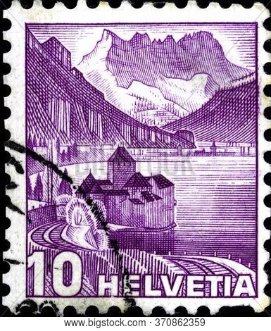 02.09.2020 Divnoe Stavropol Territory Russia The Postage Stamp Switzerland 1936 Landscapes Chillon C