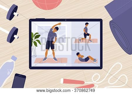 Home Gym. Online Workout Classes On Tablet. Sport Blog, Vlog Channel. Virtual Instructor Showing Exe