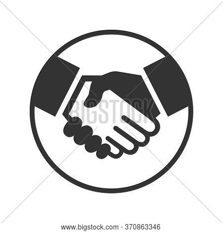 Business Agreement Handshake Or Friendly Handshake. Handshake Graphic Icon In The Circle Isolated On