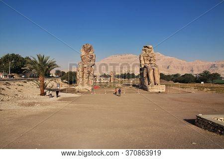 Luxor / Egypt - 28 Feb 2017: Ancient Colossi Of Memnon In Egypt, Luxor
