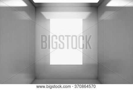 Realistic Elevator Cabin With Poster Mockup Inside View. Empty Lift Interior With Chrome Metal Walls