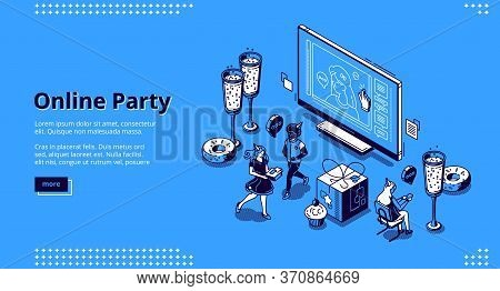 Online Party Banner. Virtual Meeting With Friends, Celebration Birthday By Internet. Vector Landing