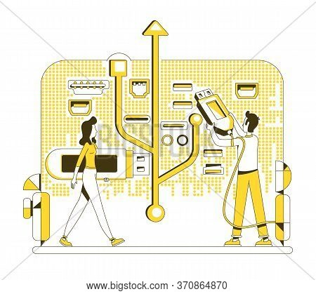 Usb Memory Stick Thin Line Concept Vector Illustration. People With Thumb Drives 2d Cartoon Characte