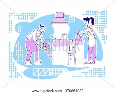 Cook Together Flat Silhouette Vector Illustration. Man And Woman In Kitchen Prepare Meal. Culinary A