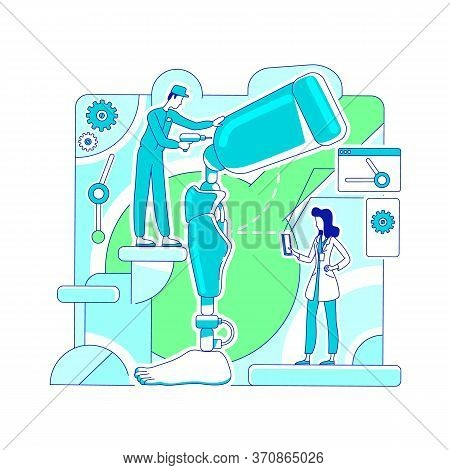 Prosthetics Laboratory Thin Line Concept Vector Illustration. Science Doctor And Engineer 2d Cartoon