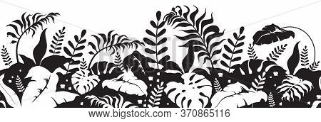 Tropical Plants Black Silhouette Seamless Border. Jungle Vegetation Landscape Monochrome Vector Illu