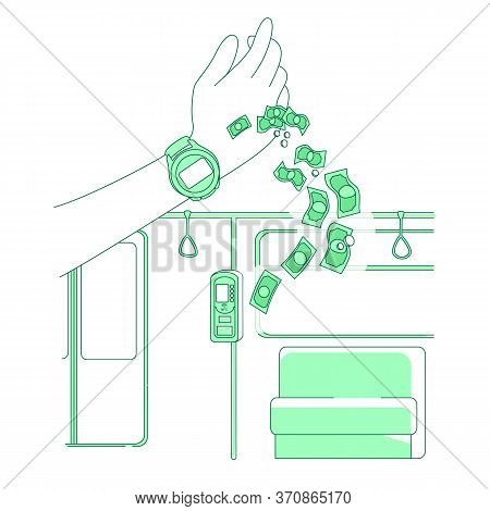 Smart Watch Thin Line Concept Vector Illustration. Electronic Payment, Person Buying E-ticket 2d Car