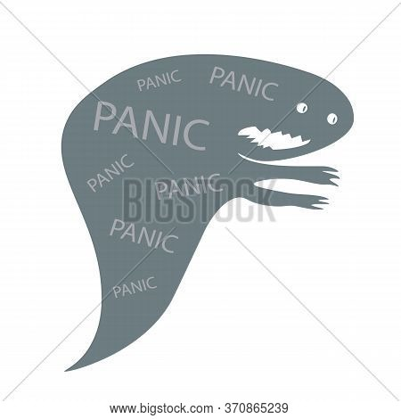Panic Monster Flat Concept Vector Illustration. Creepy Ghost, Evil Demon 2d Cartoon Characters For W
