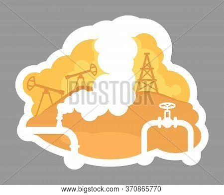 Oil Drilling 2d Vector Web Banner, Poster. Arabian Diesel Production. Pipeline And Derrick On Site.