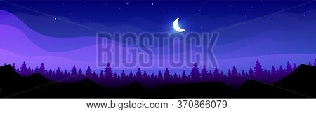 Mountains At Night Flat Color Vector Illustration. Coniferous Forest At Midnight. Wild Peaceful Natu