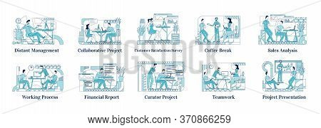 Office Employees At Work Flat Silhouette Vector Illustrations Set. Distant Manager, Corporate Cowork