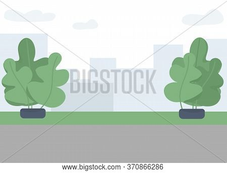 City Park Flat Color Vector Illustration. Public Outdoor Recreational Place 2d Cartoon Landscape Wit