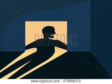 Empty Room With Sinister Shadow Flat Color Vector Illustration. Abandoned Apartment 2d Cartoon Inter