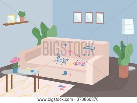 Messy Living Room Flat Color Vector Illustration. Empty Room 2d Cartoon Interior With Furniture On B