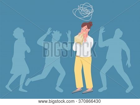 Hyperventilating Woman Flat Concept Vector Illustration. Girl With Panic Attack Breathing In Paper B