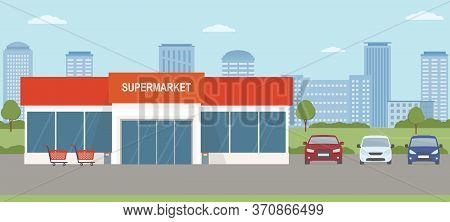 Supermarket Building With Parking Lot. Urban Landscape. Flat Style, Vector Illustration.