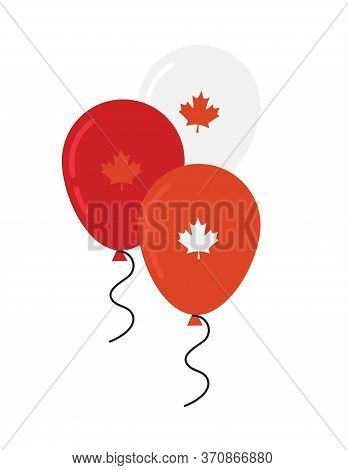 Canada Day Celebration. Canada Independence Day Flying Flat Balloons In National Colors Of Canada. H