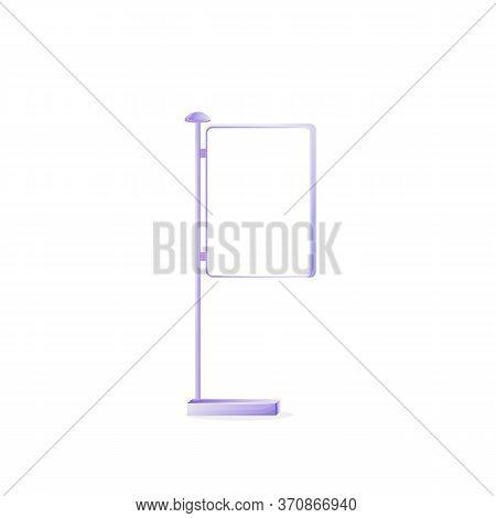Urban Vector Advert Board Sign Illustration. Metal Stand For Placard. Commercial Billboard Mockup De