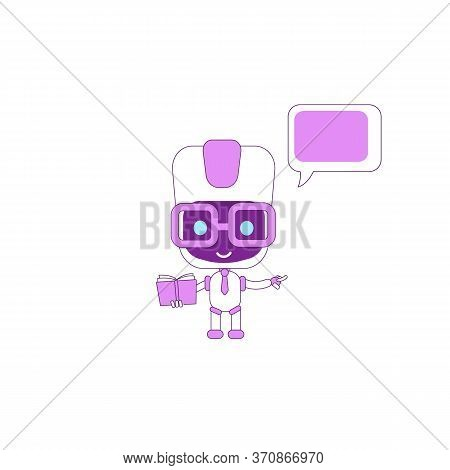 Virtual Assistant Flat Color Vector Character. Boy Bot Holding Book. Ai Point Direction. Purple Huma
