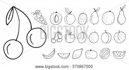 Children Felt-tip Pen Hand Drawn Line Black Fruits, Set Of Liner Objects Isolated On White Backgroun