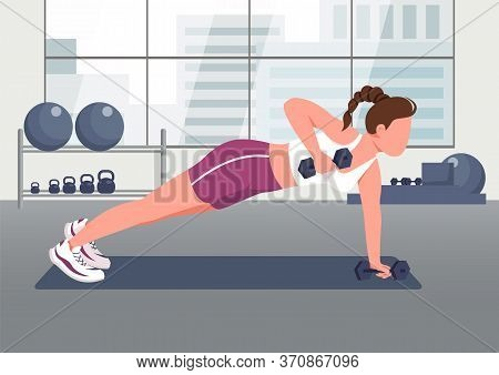 Push Ups With Dumbbells Flat Color Vector Illustration. Female Athlete, Sportswoman 2d Cartoon Chara