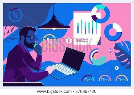 Businessman Interacting With Charts And Analysing Statistics And Data. Landing Page Template.