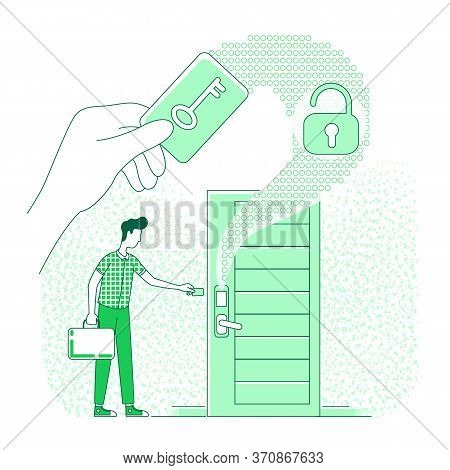 Electronic Key Thin Line Concept Vector Illustration. Person Using Plastic Keycard 2d Cartoon Charac