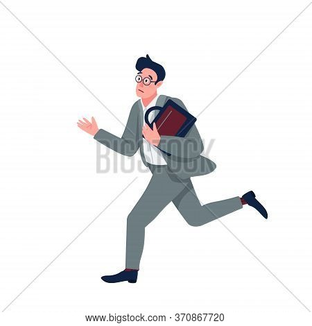 Businessman In Panic Flat Color Vector Detailed Character. Company Worker Running Late Isolated Cart