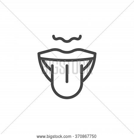 Thin Outline Mouth And Tongue Icon. Such Line Sign As Articulation, Taste Perception, Sensory Or Lan