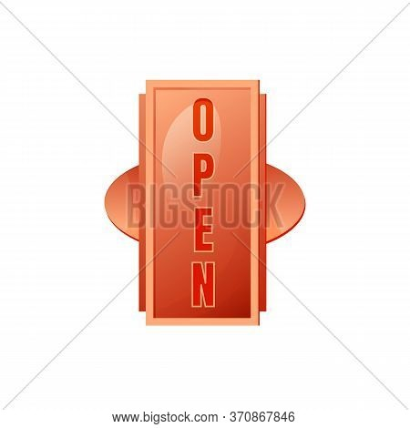 Open Red Vector Board Sign Illustration. Informational Message, Store Signboard Design With Typograp