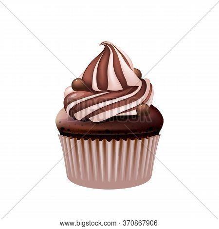 Chocolate Cupcake, Delicious Creamy Muffin Realistic Vector Illustration. Birthday Dessert, Sweet St
