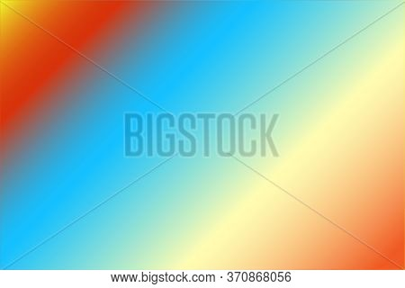 Red Blue Yellow Background. Vivid Sunset Color Gradient. Soft Multicolored Backdrop For Web Design.