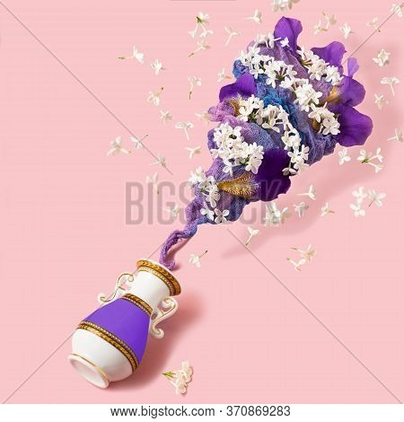 Flower Vortex Rises From Vase. Flowers And Multi-colored Gauze In Form Of Tornado. Colorful Image Of