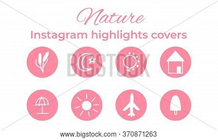 Stories Covers Instagram Highlights. Cute Retro Style Story For Insta Bloggers.