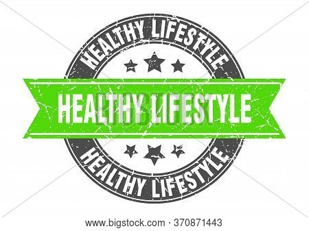 Healthy Lifestyle Round Stamp With Green Ribbon. Healthy Lifestyle