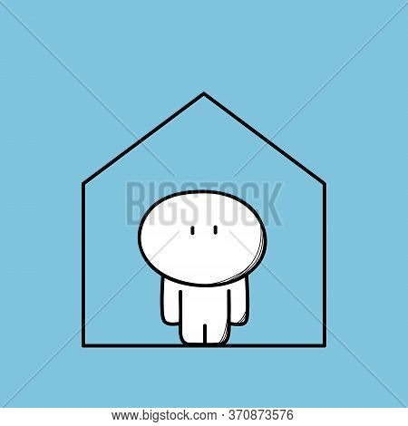 Cute Funny Man Alone At Home. House And Apartment Rent, Realty And Real Estate, Happiness And Safety