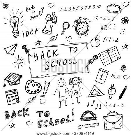 Back To School Doodles. Hand Drawn School Icons Set. Sketch School Icons Set. Illustration.